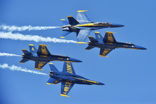 U.S. Navy Flight Demonstration Squadron, the Blue Angels, Diamond pilots perform the Low Break Cross at the Sea and Sky Spectacular 2016 in Jacksonville, Florida. The Blue Angels are scheduled to perform more than 50 demonstrations across the U.S. in 2016, which is the team's 70th anniversary year. (U.S. Navy photos by Petty Officer 1st Class Daniel M. Young/Released)