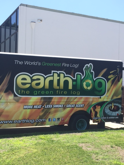 The Earthlog truck goes around to collect and shred clean waste paper to be used in creating the Earth-friendly fire logs.