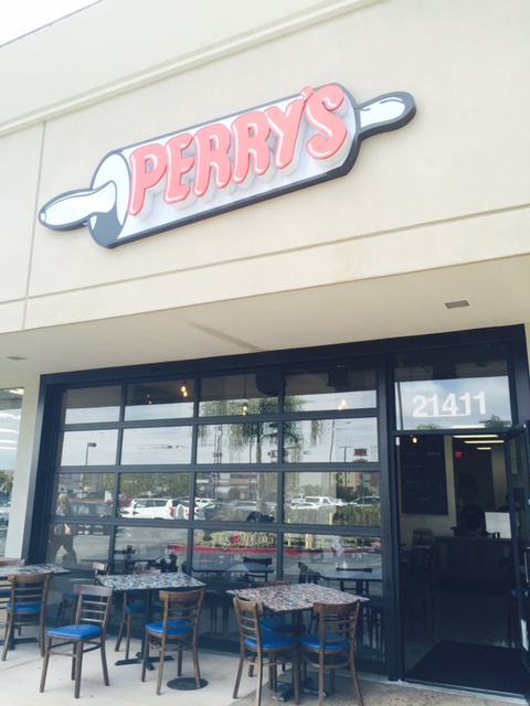 Perry's Pizza is located in the same shopping center as Trader Joe's.  Brookhurst on the corner of Hamilton, Huntington Beach.