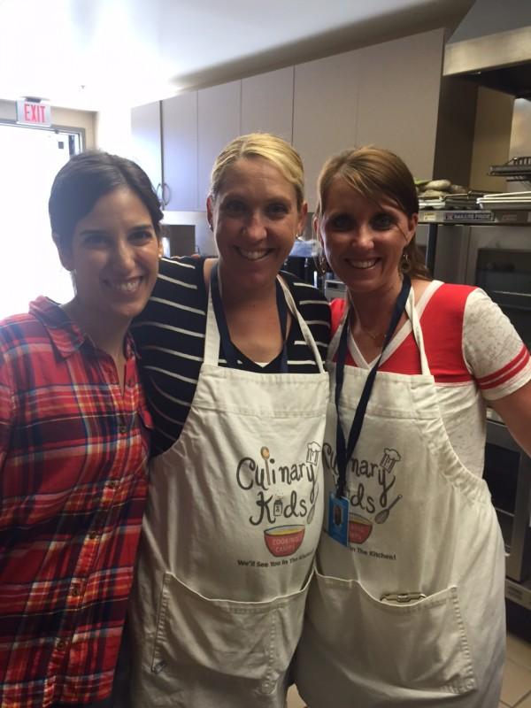 L-R. Heather Neufeld, Chef Anne Fluor, Culinary Kids founder Bonnie Bachelor.