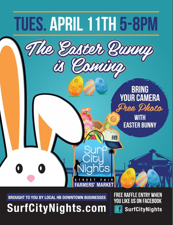 Meet the Easter Bunny during Surf City Nights