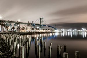 Evening photograph of bridge, San Pedro, Photo by Jay Claus