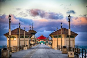 Huntington Beach Pier, blue and pink clouds