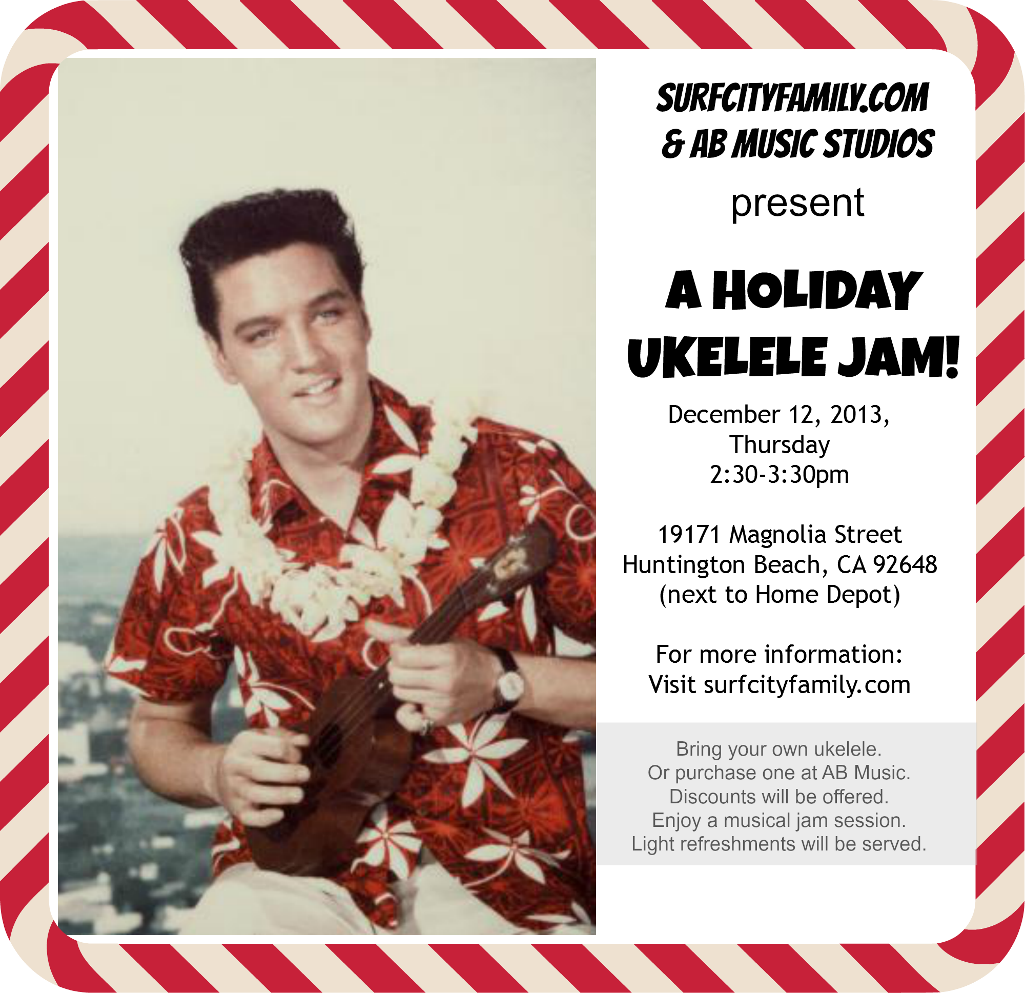 Holiday Ukulele Jam at AB Music Studios in Huntington Beach