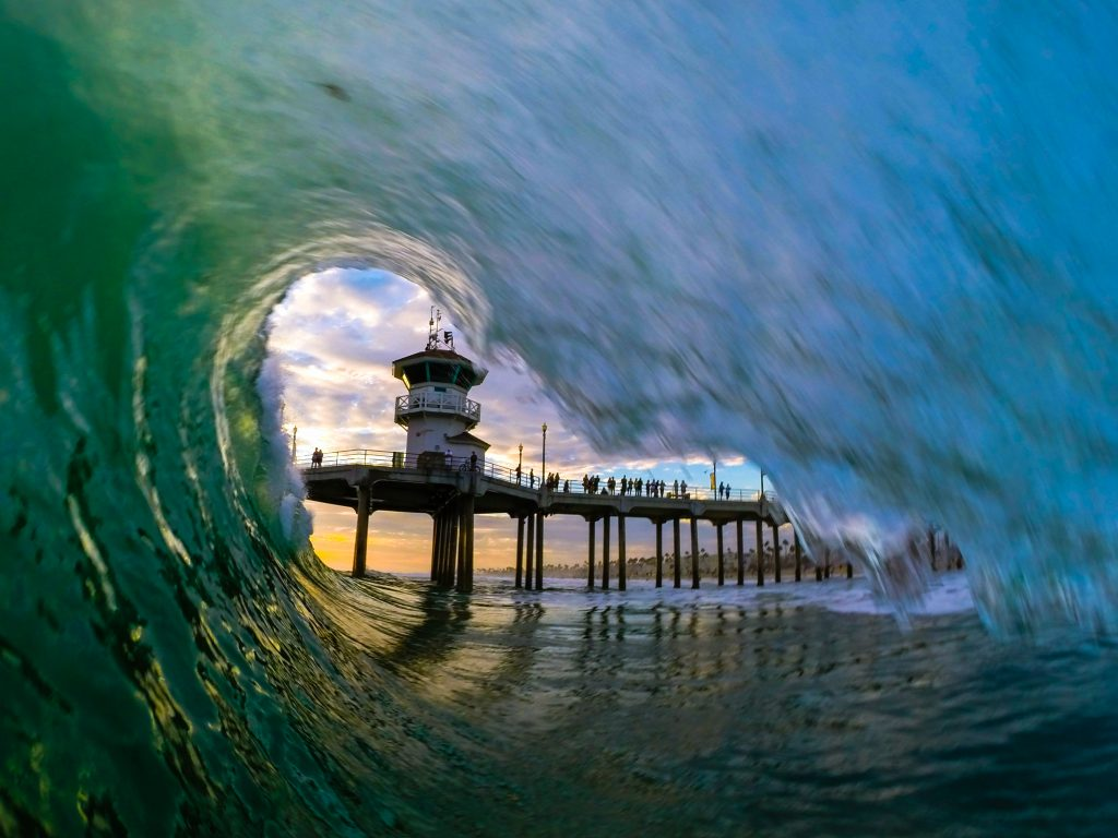 Huntington Beach Pier Wave by FotoMerlin
