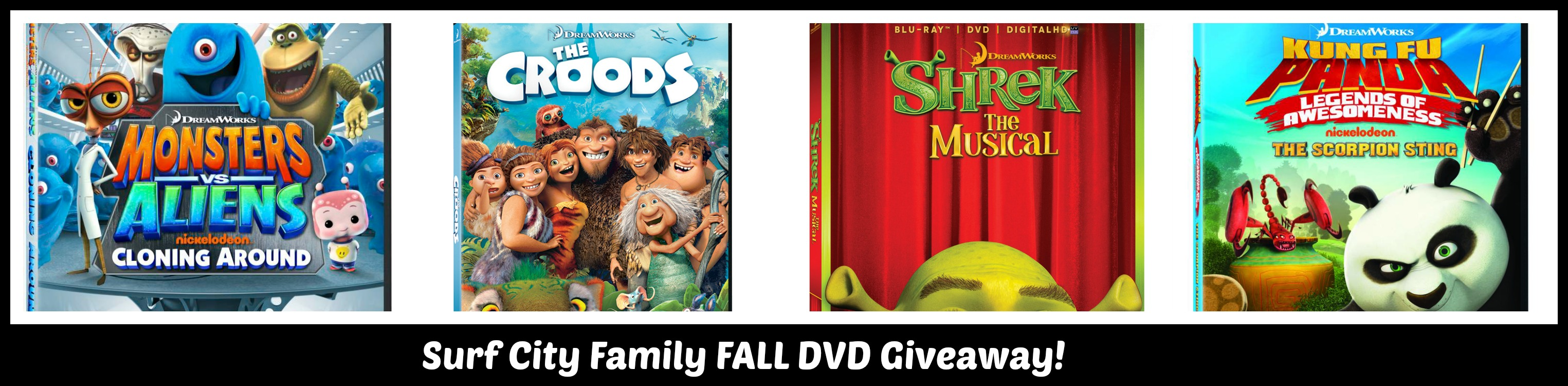 Fall DVD Giveaway: Win Shrek the Musical, The Croods, Kung Fu Panda or Monsters vs. Aliens
