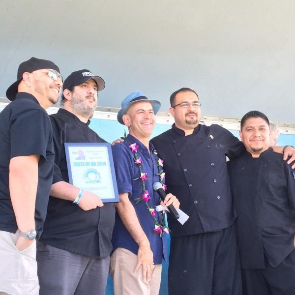 Celebrity Simon Majumdar with Shades Restaurant team who won Best of the Best  for their take on a PB &J sandwich.