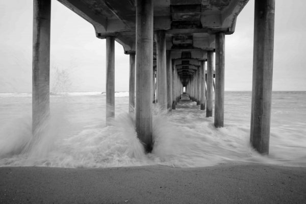 Under the pier in black and white. Photo by Joe Katchka.